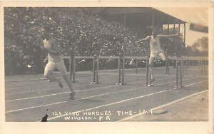 H43/ Sports Postcard RPPC c1910 Hurdles Track Meet Race Runners 10