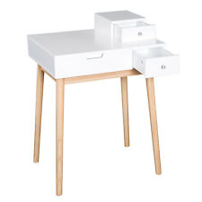 2 In 1 Dressing Table With Flip-Up Mirror, MDF, Pine-White With Mirror Desk Set