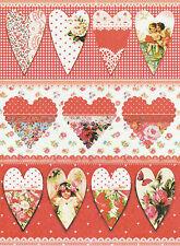 Carta di riso romantica cuori rossi per Decoupage Scrapbook Craft sheet