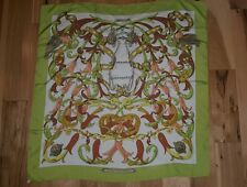 "Hermes Paris silk scarf large ""Le Mors a la Conetable"" Green Border 34 inch"
