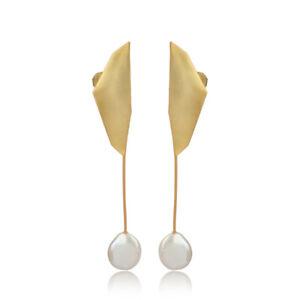 Womens Fashion Dainty Pearl Earring Gold Plated Handmade Earrings Jewelry