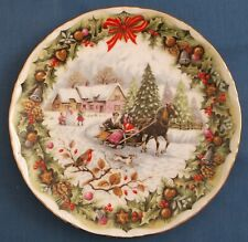 ROYAL ALBERT CHRISTMAS SLEIGHRIDE BONE CHINA PLATE FRED ERRILL BOXED MINT