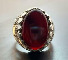 Yemeni Aqeeq Ring Handmade Blood Aqeeq Ring Mens Sterling Silver 925 Agate Ring