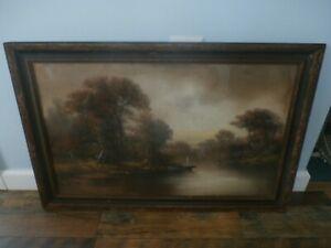 Antique Circa 1923 Original William Chandler Chalk Pastel Painting Framed Art