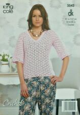 CROCHET PATTERN Ladies V-Neck 3/4 Sleeve Lacy Top DK King Cole 3542
