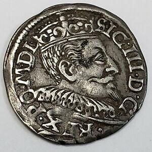 1593 Polish Lithuanian Trojak 3 Grosze Silver Sigismund III Vasa Coin 8PL9340