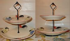 2 TIER TRINKET CAKE STAND DISPLAY RED BLACK COCK ROOSTER CHICKEN