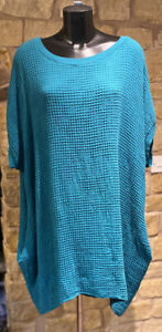 Lagenlook Designed & Made In Italy Lady's Cotton Tunic Dress Top1Size 10-20