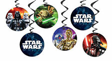 STAR WARS HANGING DECORATIONS PARTY PACK 6 PIECE FOIL/PAPER SWIRL BIRTHDAY