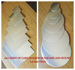 "Cardboard Cake Board Round Square Silver  Thickness 2.2mm - Size 3"" to 10"" Inch"