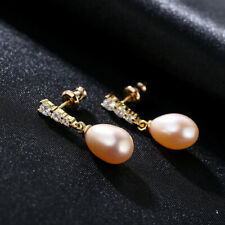 100% 925 Sterling Silver Natural Freshwater Pink Pearls Gemstone Drop Earrings