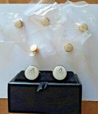 Gold & White Masonic Cufflinks & 5 Button Studs Freemason Formal Present GiftBox