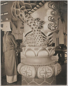 Oversized vintage 1950s Southeast Asia, Chinese minority, priest in temple