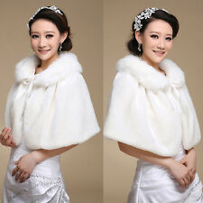 Elegant Women Faux Fur Bridal Wedding Dress Winter Wrap Bolero Coat Shawl Ivory
