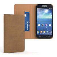 Tasche für Samsung Galaxy S4 Mini Cover Handy Schutz Hülle Case Etui Hellbraun