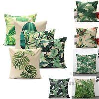 Green Leaf Cotton Linen Cushion Covers Waist Throw Pillow Case Sofa Home Decor