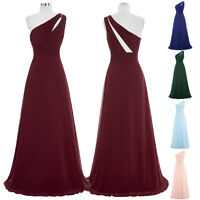 WOMENS Long Chiffon Evening Gown One Shoulder Bridesmaid Dress Prom Formal Part