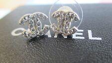Chanel Classic Mini Crystal CC Logo Earrings