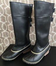SOREL Women US Size 9 Slimpack Riding Tall II Boots Black Kettle Duck Waterproof