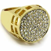 Men's 14K Gold Plated Hip Hop Iced Round Cz Ring Size Available 7 8 9 10 11 12
