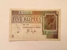 - British India Five 5  Rupees George V 1917 - 1930 P 4b J.B. Taylor