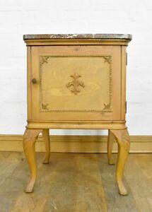 Antique vintage marble top bedside cabinet / pot cupboard