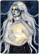 ACEO PRINT Moon Goddess Stars Celestial Night Sky Woman WC Fantasy art