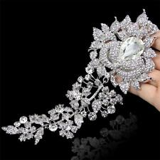 """8"""" High Quality Large Bridal Rose Flower Pin Brooch Clear Austrian Crystal Gift"""