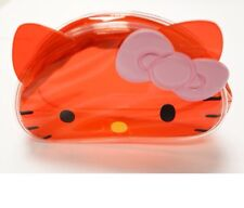 SANRIO Hello Kitty Face PCV Red Makeup Pouch KT 100% Brand New /Authentic)