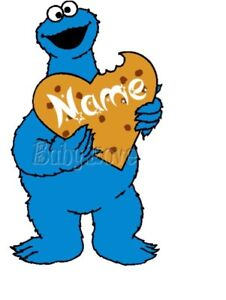 IRON ON TRANSFER PERSONALISED COOKIE MONSTER (ANY NAME)