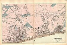 More details for 1881 hand coloured map ~ plan of hastings & st leonards pier marina churches etc