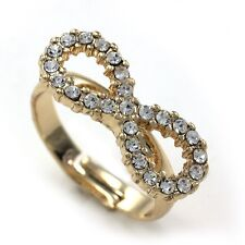 Clear Eternity Forver Everlasting Love Infinity Ring Adjustable Band Gold Tone