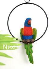 Lorikeet Parrot Bird in Ring Statue Garden Ornament 20 Cm