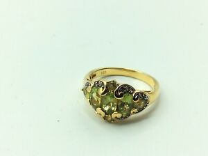 Fantastic Antique Vintage 9ct Gold On Sterling Silver Peridot Set Ring Size R