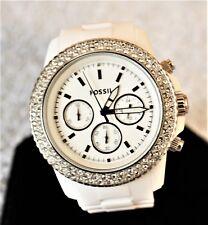 Women's Fossil CH-2671 Stella White Glitzy Crystal Accent Chronograph Watch #518