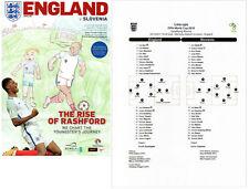 England v Slovenia 5/10/2017 Programme plus colour copy teamsheet
