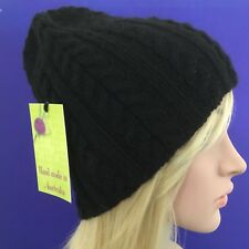HAND KNITTED  LADIES BLACK  WOOL-ALPACA  CABLED  BEANIE HAT