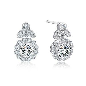 Birthstone Stud Earrings Made with Swarovski Crystals 14K White Gold Plated