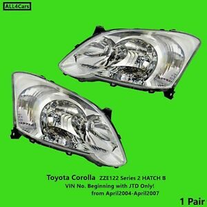 Head lights for Toyota Corolla ZZE122  2004 2005 2006 2007 Right Left Side Pair