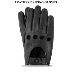 Mens Classic Retro style quality Chauffeur Soft Lambskin Leather Driving Gloves