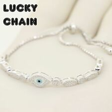 WOMEN'S 925 STERLING SILVER ICED OUT LAB DIAMOND EYE BRACELET 8g R272