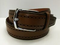 "Allen Edmonds ""MANISTEE"" Dress Belt Sz 42 Walnut Brown Leather Stocking Gift Men"