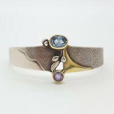 Designer 925 Silber Armreif - mit Steine - Bicolor -  (34)