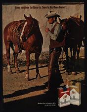 1970 MARLBORO Cigarettes - Cowboy Marlboro Man Smoking with Horse - VINTAGE AD