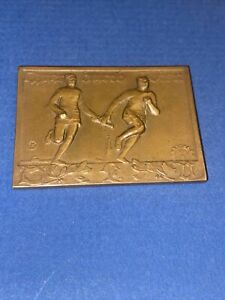 1929 TRACK & FIELD GAMES GERMAN-AUSTRIAN FIGURAL BATON MEDALLION W/FERRIS WHEEL