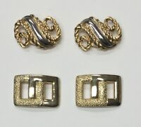VINTAGE LOT OF 4 (2 PAIRS) GOLD TONE METAL SHOE CLIPS DRESS SWIRL & BUCKLE