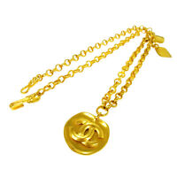 Authentic CHANEL CC Logos Gold Chain Pendant Necklace Accessories NR10560h