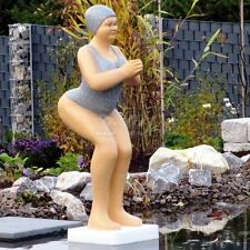 BADENDE ELLI BADEANZUG GRAU FRAU SCHWIMMTEICH FIGUR ART DECO Skulptur BADEFRAU