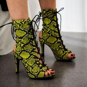 Women Sexy High Heels Slingback Sandals Boots Open Toe Snake Shoe Pump Nightclub