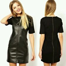 Celeb Black Faux Leather Panel Mini Dress Towie Size 8-10 BNWT FF Boutique